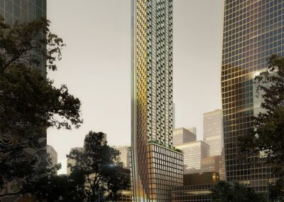 145 Wellington St. W. night view of proposed tower from distance
