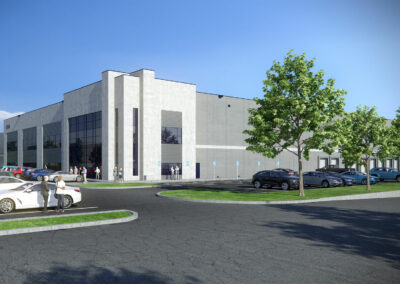 Exterior rendering of the first of three industrial buildings in Caledon, ON